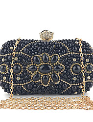 cheap -Women's Pearls / Chain Silk Evening Bag Embroidery Black / White / Almond