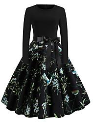 cheap -Women's Black Dress Basic Daily Wear Swing Geometric S M