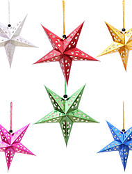 cheap -6pcs Colorful Three-Dimensional Laser Cut Christmas Tree Five Stars Ceiling Ktv Tapestries Lamp Cover 30cm