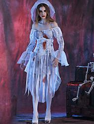 Недорогие -Призрачная невеста Товары для Хэллоуина Взрослые Жен. Косплей Хэллоуин Halloween фестиваль Хэллоуин Фестиваль / праздник Терилен Полиэстер Белый Жен. Карнавальные костюмы Сплошной цвет / Платье