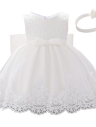cheap -Baby Girls' Active Color Block Bow / Layered / Pleated Sleeveless Knee-length Dress White