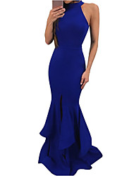 cheap -Women's Maxi Bodycon Dress - Solid Colored Halter Neck Black Wine Royal Blue S M L XL