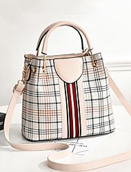cheap -Women's PU Top Handle Bag Lattice Black / Brown / Red