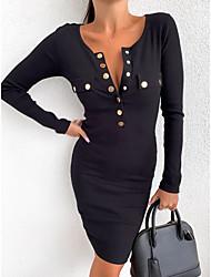 cheap -Women's Daily Wear Going out Basic Boho Bodycon Sheath Dress - Solid Colored Patchwork Black Blushing Pink Khaki S M L XL