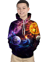 abordables -Enfants Bébé Garçon Actif Basique Cubes Magiques Galaxie 3D Imprimé Manches Longues Pull à capuche & Sweatshirt Arc-en-ciel