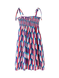 cheap -Kids Girls' Boho Geometric Backless Lace up Sleeveless Above Knee Dress Red