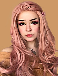 cheap -Synthetic Lace Front Wig Wavy Body Wave Middle Part Lace Front Wig Pink Long Rose Gold Synthetic Hair 18-24 inch Women's Party Synthetic Easy dressing Pink