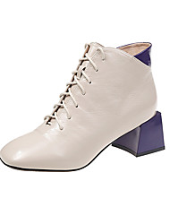 cheap -Women's Boots Block Heel Square Toe Stitching Lace PU Booties / Ankle Boots Casual Walking Shoes Fall & Winter Red / Blue