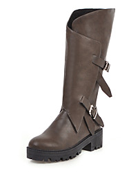 cheap -Women's Boots Chunky Heel Round Toe PU Mid-Calf Boots Vintage / Minimalism Spring / Fall & Winter Black / Brown / Coffee