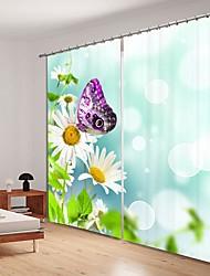 abordables -papillon violet impression numérique 3d rideau rideau d'ombrage haute précision noir tissu de soie rideau de haute qualité