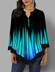 Недорогие -Жен. Блуза V-образный вырез На каждый день Градиент цвета Синий / Весна / Осень