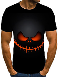 cheap -Men's Daily Going out Street chic / Exaggerated Plus Size T-shirt - Geometric / 3D / Skull Pleated / Print Round Neck Black / Short Sleeve