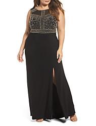 cheap -Sheath / Column Furcal Prom Formal Evening Dress Jewel Neck Sleeveless Floor Length Chiffon with Beading 2020
