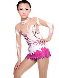 cheap -Rhythmic Gymnastics Leotards Artistic Gymnastics Leotards Women's Girls' Leotard Ivory Spandex High Elasticity Handmade Print Jeweled Long Sleeve Competition Ballet Dance Ice Skating Rhythmic