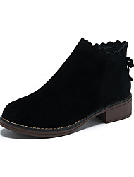cheap -Women's Boots Wedge Heel Round Toe Elastic Fabric Winter Almond / Black