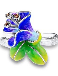 cheap -Women's Ring 1pc Silver Platinum Plated Unique Design European Trendy Gift Daily Jewelry Floral Theme Cute