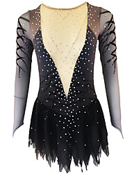 cheap -21Grams Figure Skating Dress Women's Girls' Ice Skating Dress Black / White Open Back Spandex Micro-elastic Training Skating Wear Classic Crystal / Rhinestone Long Sleeve Ice Skating Figure Skating