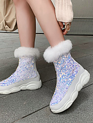 cheap -Women's Boots Snow Boots Sculptural Heel Round Toe Sequin PU Mid-Calf Boots Casual / Minimalism Spring &  Fall / Fall & Winter Black / White / Silver / Party & Evening