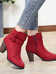 cheap -Women's Boots Chunky Heel Pointed Toe Buckle Suede Booties / Ankle Boots Vintage / Casual Spring &  Fall / Fall & Winter Black / Brown / Red
