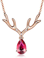 cheap -Jewelry 925 Silver Necklaces For Women Cute Deer Pendant Rose Gold Color Ruby Gemstone Christmas Woman Gifts Party
