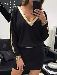 cheap -Women's Mini White Black Dress Elegant Sweater Color Block Deep V S M