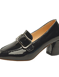 cheap -Women's Heels Chunky Heel Square Toe Patent Leather Fall Black / Brown / 2-3