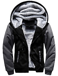 cheap -Men's Daily Regular Jacket, Color Block Hooded Long Sleeve Polyester Black / Blue / Red
