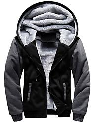 cheap -Men's Jacket Daily Hooded Regular Color Block Long Sleeve Black / Blue / Red US32 / UK32 / EU40 / US34 / UK34 / EU42 / US36 / UK36 / EU44