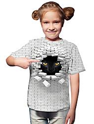 cheap -Kids Toddler Girls' Active Basic Cat Geometric Print Color Block Print Short Sleeve Tee White