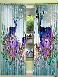 cheap -Watercolor Decorative Painting Elk Digital Printing 3D Curtain Shading Curtain High Precision Black Silk Fabric High Quality Curtain