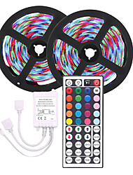cheap -LED Strip Light  (2*5M)10M 3528 RGB 600led Strips Lighting Flexible Color Changing with 44 Key IR Remote Ideal for Home Kitchen Christmas TV Back Lights DC 12V