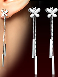 cheap -Fashion 925 silver Earrings Tassel Butterfly Chain Earrings Vintage European And American Women'S Plata Earrings Ear Jewelry
