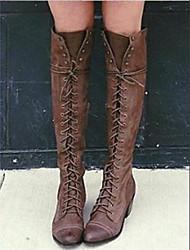 cheap -Women's Boots Flat Heel Round Toe PU Mid-Calf Boots Fall & Winter Black / Gray