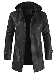 cheap -Men's Daily Fall & Winter EU / US Size Regular Leather Jacket, Solid Colored Hooded Long Sleeve PU Light Brown / Brown / Black