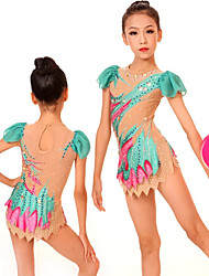 cheap -Rhythmic Gymnastics Leotards Artistic Gymnastics Leotards Women's Girls' Leotard Green High Elasticity Handmade Print Jeweled Long Sleeve Competition Ballet Dance Ice Skating Rhythmic Gymnastics