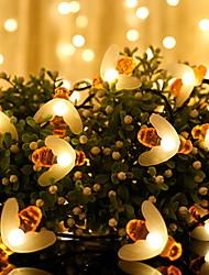Недорогие -5 метров Гирлянды 20 светодиоды 1 комплект Тёплый белый Работает от солнечной энергии / Декоративная Солнечная энергия