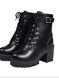 cheap -Women's Boots Chunky Heel Round Toe PU Mid-Calf Boots Winter Black