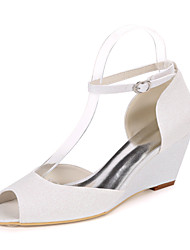cheap -Women's Wedding Shoes Wedge Heel Peep Toe Synthetics Minimalism Fall / Spring & Summer White / Champagne / Light Purple / Party & Evening