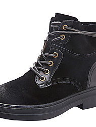 cheap -Women's Boots Flat Heel Round Toe Cowhide Booties / Ankle Boots Winter Black / Coffee