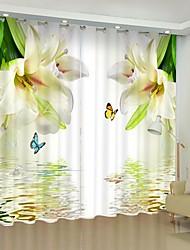 cheap -Water Perfume Lily Digital Printing 3D Curtains Shading Drapes High Precision Black Silk Fabrics High-quality Curtains