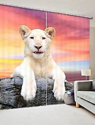 cheap -White Lioness Digital Printing 3D Curtain Shading Curtain High Precision Black Silk Fabric High Quality Curtain