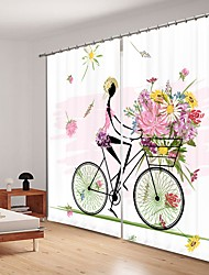 cheap -Girls Riding Bicycles Digital Printing 3D Curtain Shading Curtain High Precision Black Silk Fabric High Quality Curtain