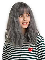 cheap -Synthetic Wig Bangs Curly Water Wave Side Part Neat Bang With Bangs Wig Medium Length Black / Smoke Blue Synthetic Hair 14 inch Women's Cute Cosplay Women Dark Gray HAIR CUBE