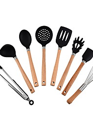 cheap -Premium Silicone Kitchen Utensils 8-Piece Cooking Utensils Set with Bamboo Wood Handles for Nonstick Cookware, Utensils Holder Included