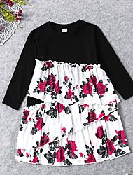 cheap -Toddler Girls' Vintage Active Black & White Color Block Patchwork Long Sleeve Midi Dress Black