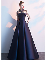 cheap -A-Line High Neck Floor Length Polyester / Tulle Celebrity Style / Vintage Inspired Formal Evening Dress 2020 with Beading / Illusion Sleeve