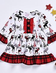 cheap -Kids Girls' Geometric Long Sleeve Dress Red