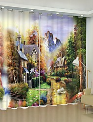 cheap -Oil Painting Style Forest House Digital Printing 3D Curtain Shading Curtain High Precision Black Silk Fabric High Quality Curtain