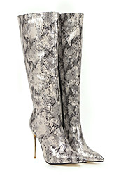 cheap -Women's Boots Knee High Boots Stiletto Heel Pointed Toe PU Knee High Boots Fall & Winter Leopard / Gold / Black