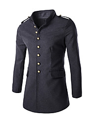 cheap -Men's Daily / Work Street chic Fall & Winter Regular Trench Coat, Solid Colored Stand Long Sleeve Polyester Black